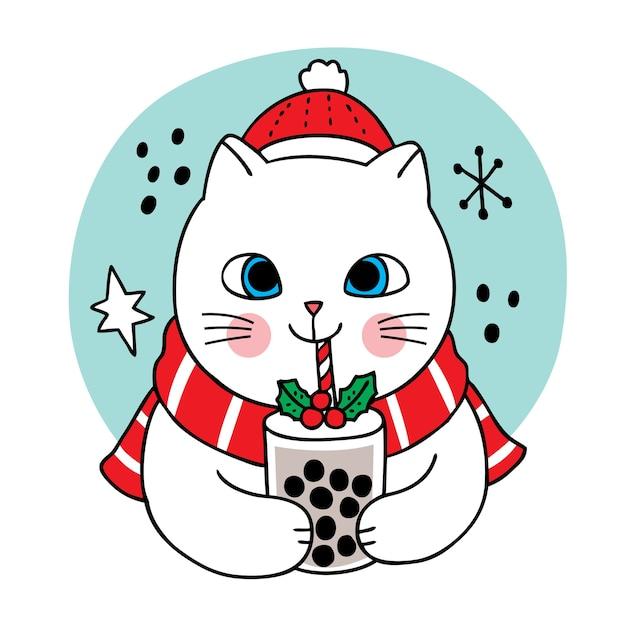 Рука рисовать мультфильм милый с рождеством, кошка пьет пузырьковый чай Premium векторы