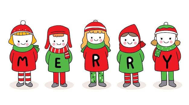 Рука рисовать мультфильм милый с рождеством, дети Premium векторы