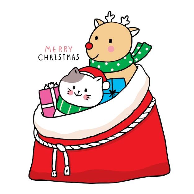 Hand draw cartoon cute merry christmas Premium Vector
