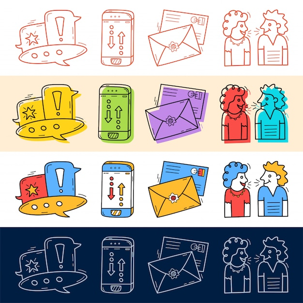 Hand draw chat, talk, phone, mail icon set in doodle style for your design. Premium Vector