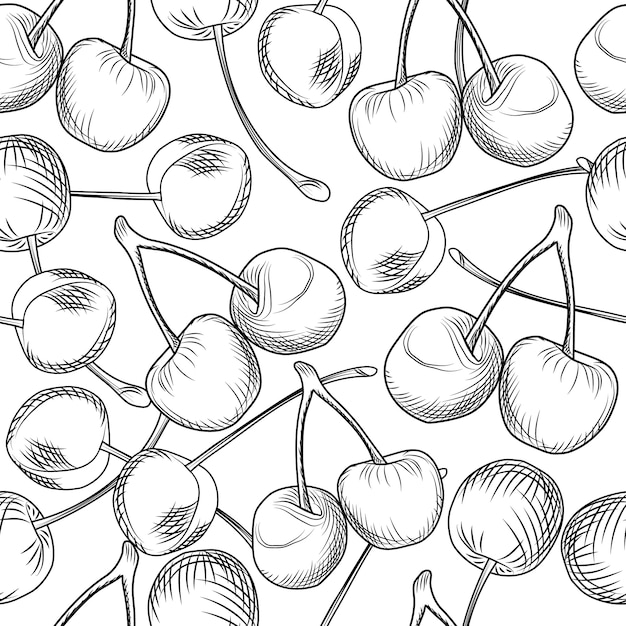 Hand draw cherries seamless pattern on a white background Premium Vector