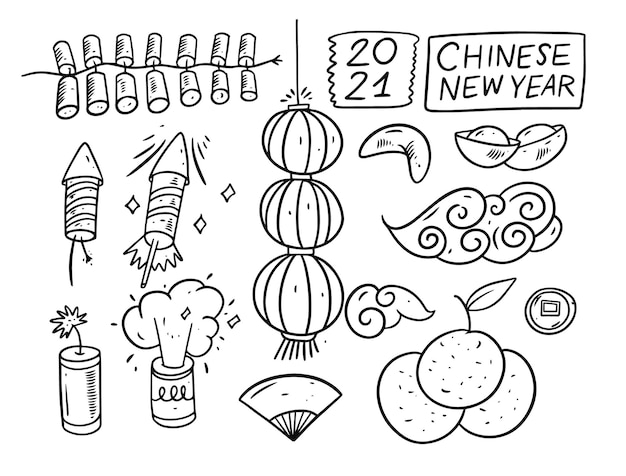 Hand draw chinese new year black color elements. sketch style . isolated on white background. Premium Vector