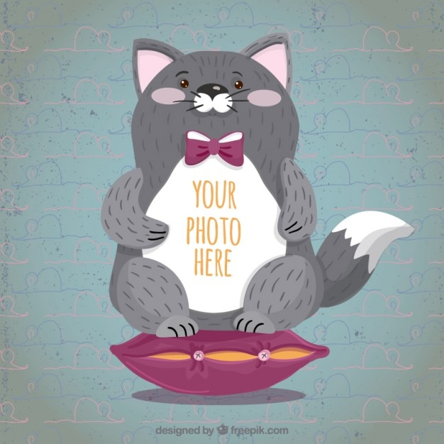 Hand draw cute cat frame Vector   Free Download
