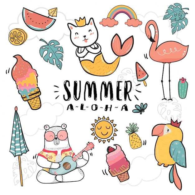 Hand draw cute doodle icon summer collection Premium Vector