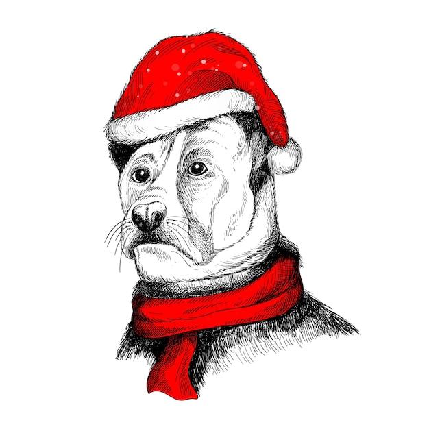 메리 크리스마스 카드 산타 모자에 손 그리기 개 무료 벡터