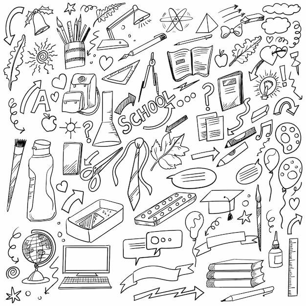 Scuola di doodle di tiraggio della mano e scenografia di lavoro Vettore gratuito