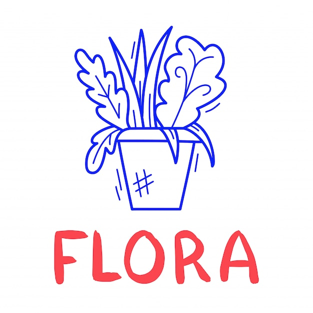 Hand Draw Flowerpot Icon In Doodle Style For Your Design With