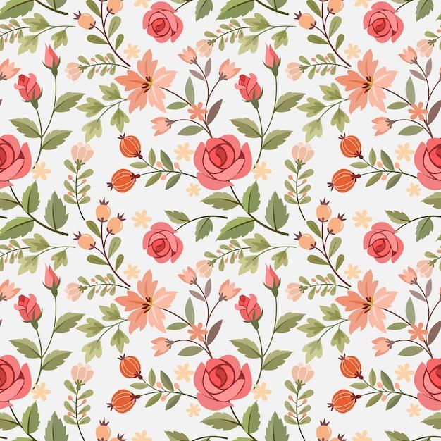 손으로 그리는 꽃 원활한 패턴 프리미엄 벡터