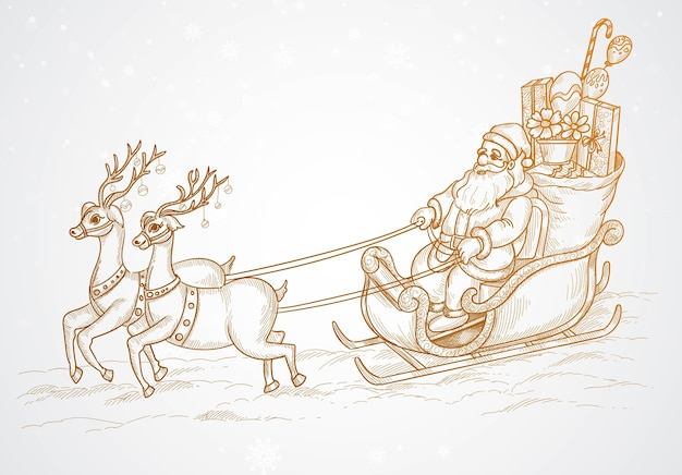 Рука рисовать летающий санта-клаус и рождественский олень эскиз Бесплатные векторы