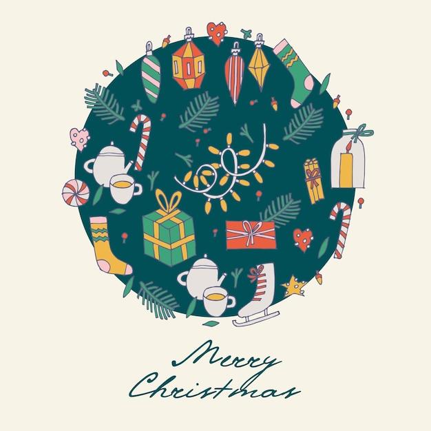 Рука рисовать узор рождественские поздравления. Premium векторы