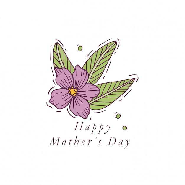 母の日グリーティングカードカラフルな色の手描き。タイポグラフィと春の休日の背景、バナーやポスター、その他の印刷物のアイコン。 Premiumベクター
