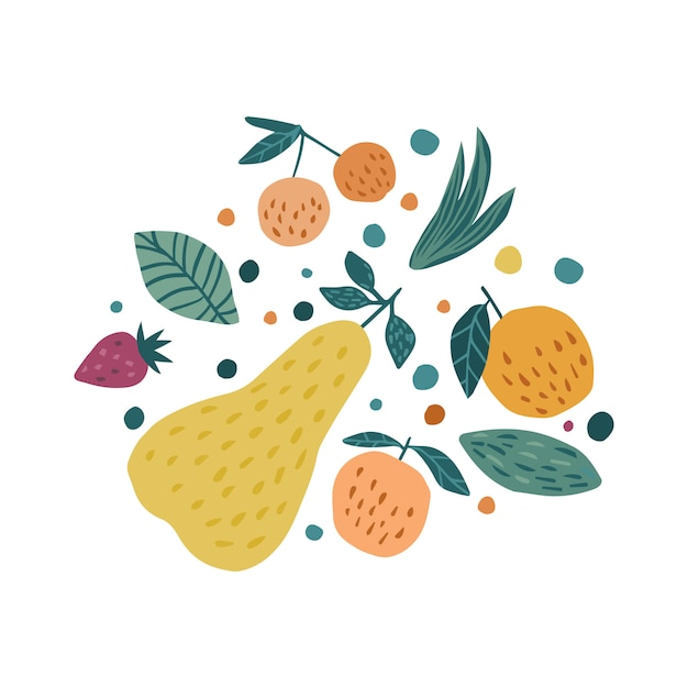 Hand draw fruits print. apple, strawberry, pear and cherry berries. Premium Vector