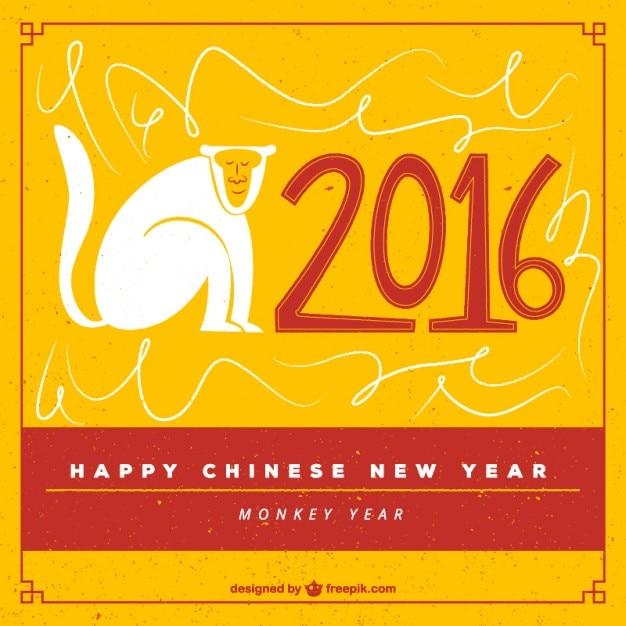 Hand draw happy chinese new year background