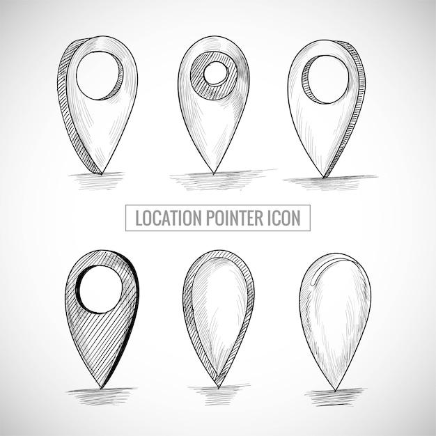 Mano disegnare posizione icona puntatore set schizzo design Vettore gratuito