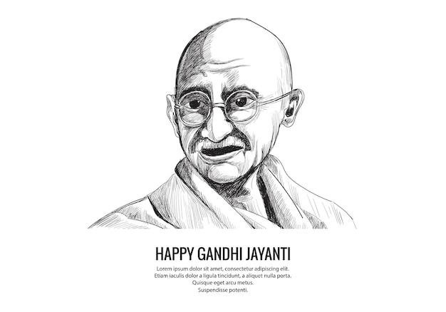 Hand draw mahatma gandhi sketch for gandhi jayanti Free Vector