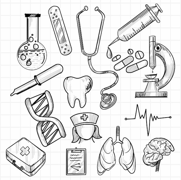 Hand draw medical icon sketch set design Free Vector