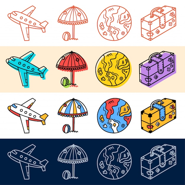 Hand draw plane travel, earth icon set in doodle style for your design. Premium Vector