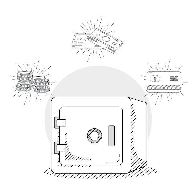 Hand draw strongbox money and business cartoons Premium Vector