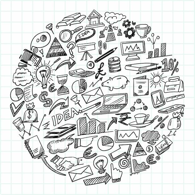 Hand draw technology sketch doodle set design Free Vector