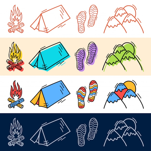 Hand draw travel tent, step, mountain icon set in doodle style for your design. Premium Vector