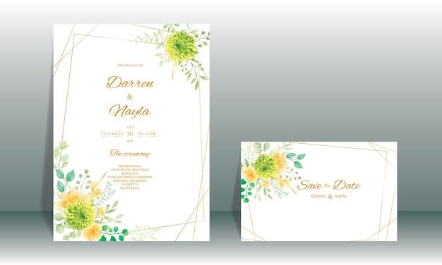 花と葉の装飾と手描きの水彩結婚式の招待カードテンプレート Premiumベクター
