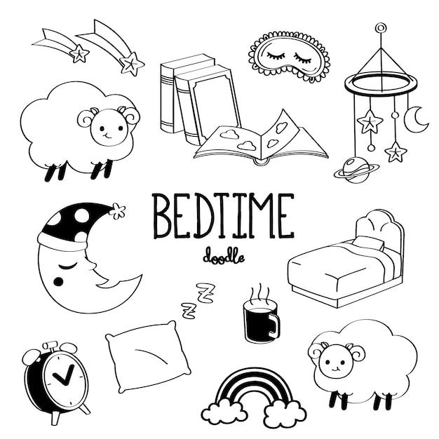 Hand drawing bedtime stuff Premium Vector