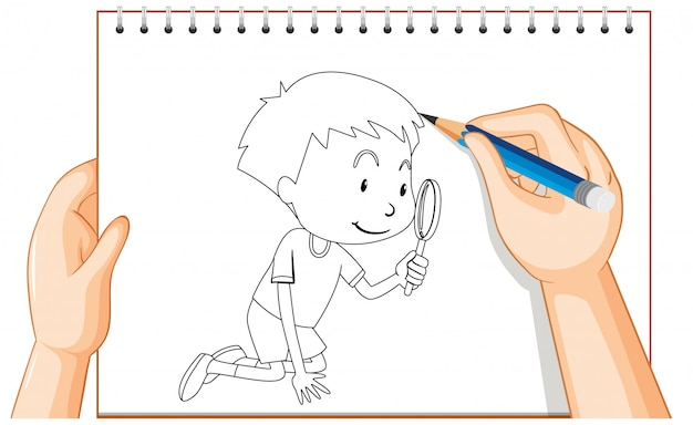Hand drawing of boy look through magnifying glass outline Free Vector