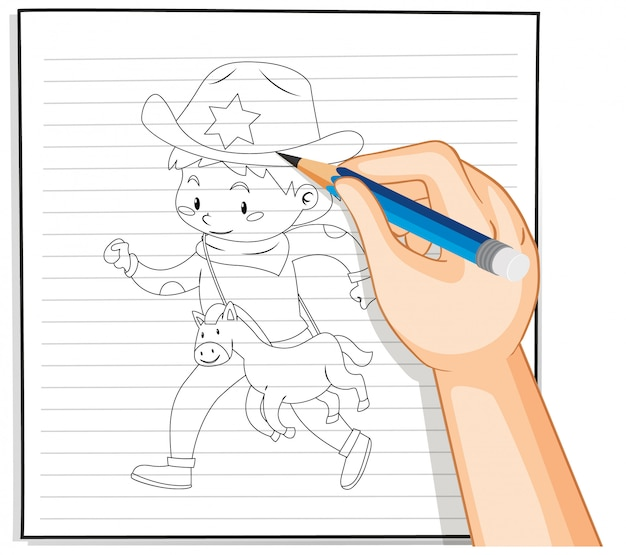 Hand drawing boy outline Free Vector