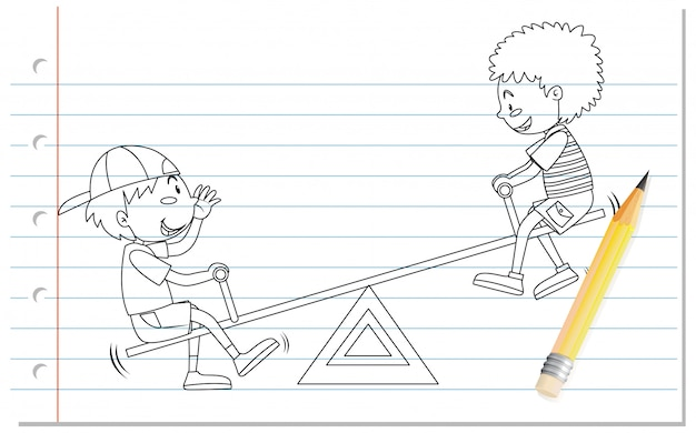 Hand drawing of boy playing seesaw outline Free Vector