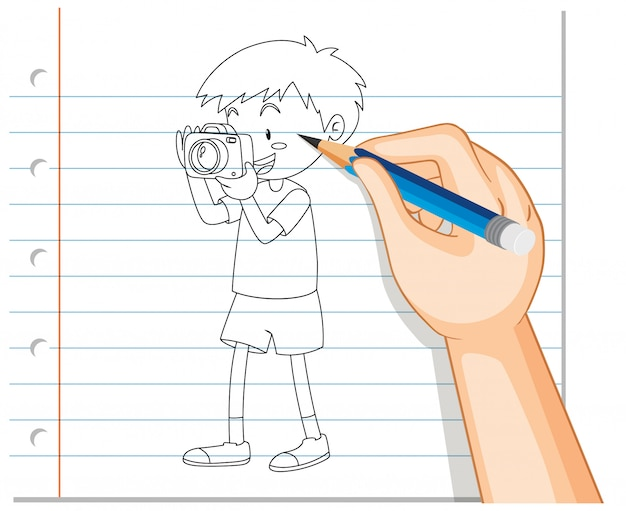 Hand drawing of boy taking photo outline Free Vector