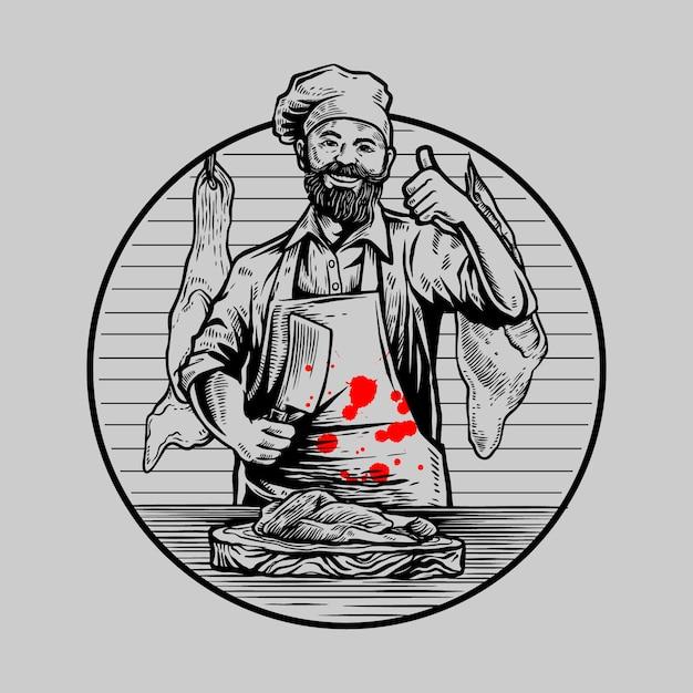 Hand drawing butcher illustration Premium Vector