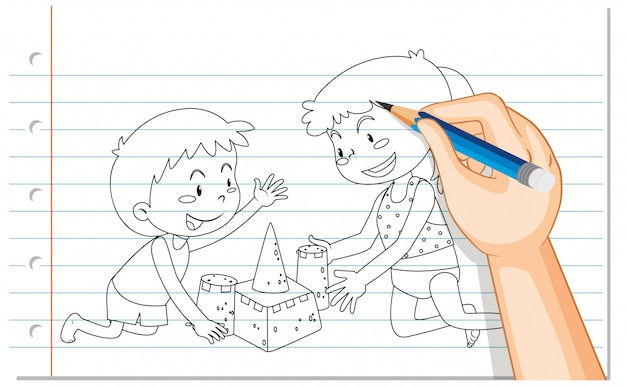Hand drawing children building sand castle Free Vector
