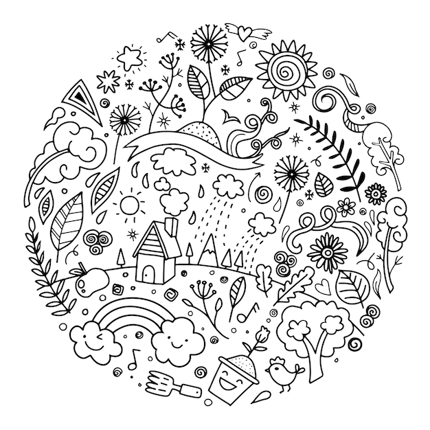 Hand drawing cute doodle ecology concept Premium Vector