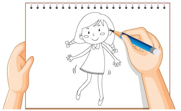 Hand drawing of cute girl cartoon Free Vector