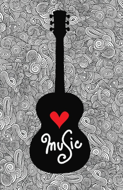 Hand drawing doodle acoustic guitar Premium Vector