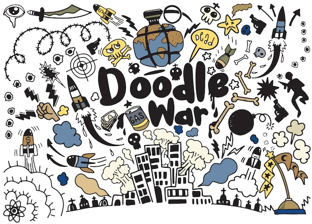 Hand drawing doodle war collection Premium Vector
