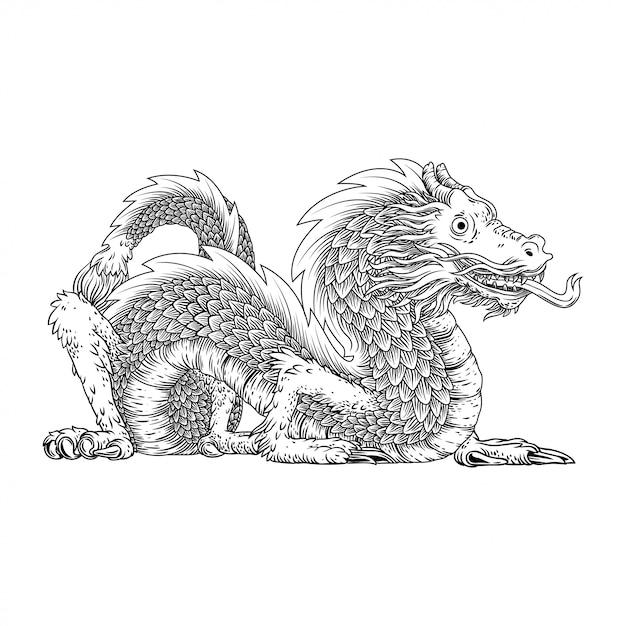 Hand drawing dragon Premium Vector