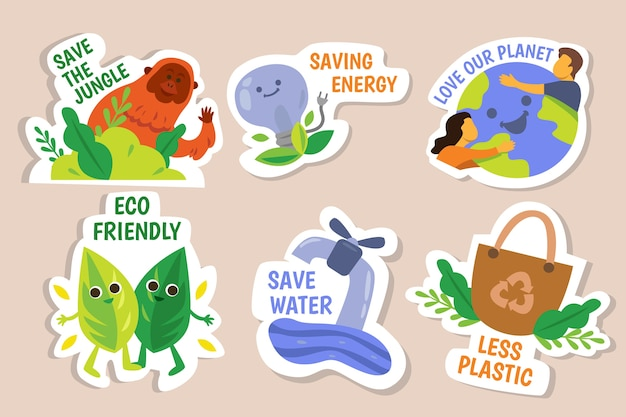 Hand-drawing of ecology badges Free Vector