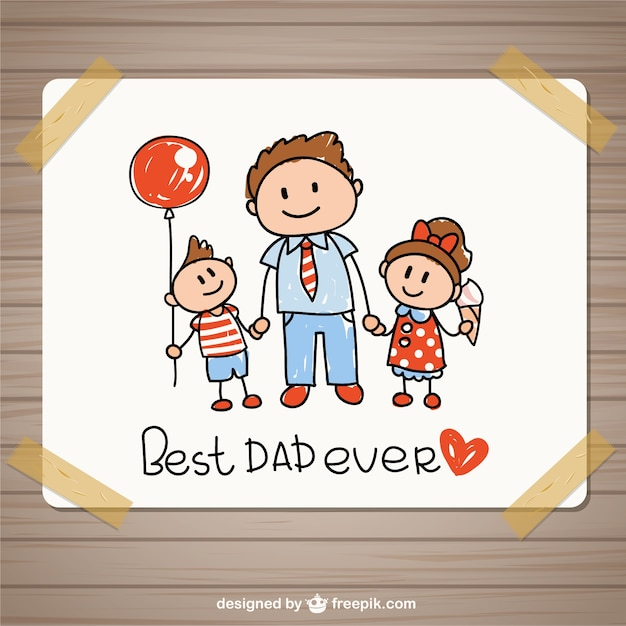 Hand drawing fathers day card Vector | Premium Download