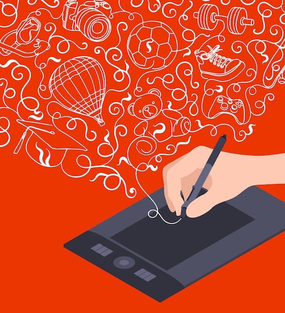 Hand drawing on the graphic tablet against the red background Premium Vector
