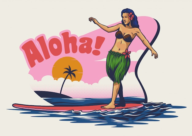 Hand drawing hawaiian girl surfing Premium Vector