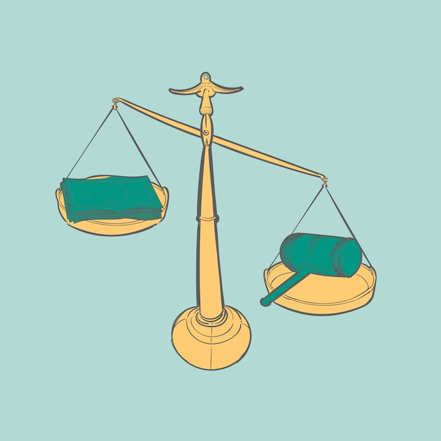 Hand drawing illustration of justice conecept Free Vector