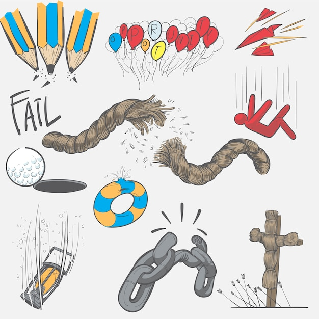Hand drawing illustration set of fail mission Free Vector