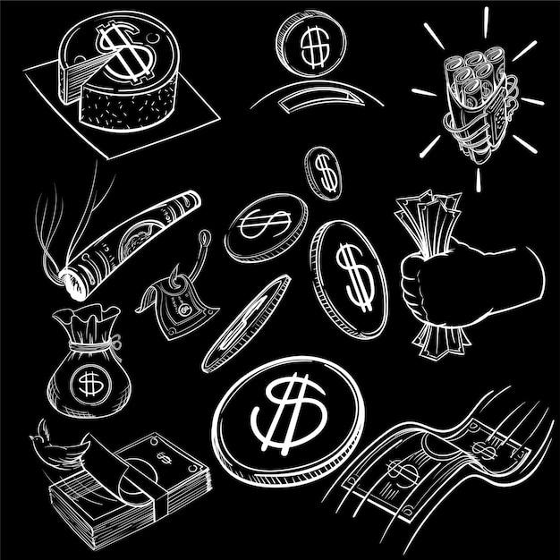 Insieme dell'illustrazione dell'illustrazione della mano di finanza Vettore gratuito