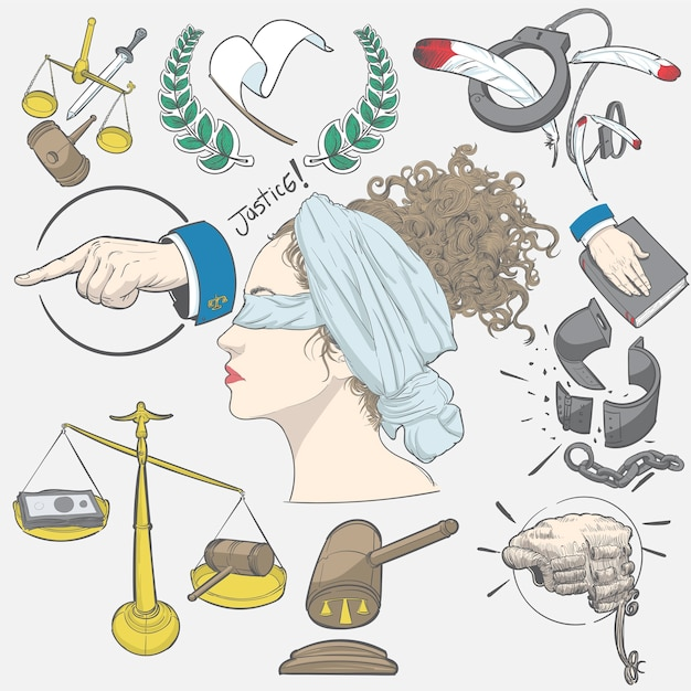 Hand drawing illustration set of justice Free Vector