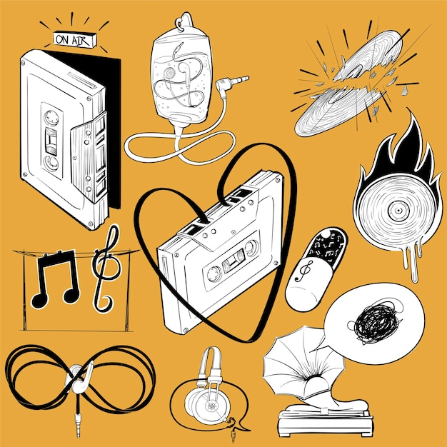Hand drawing illustration set of music entertainment Free Vector