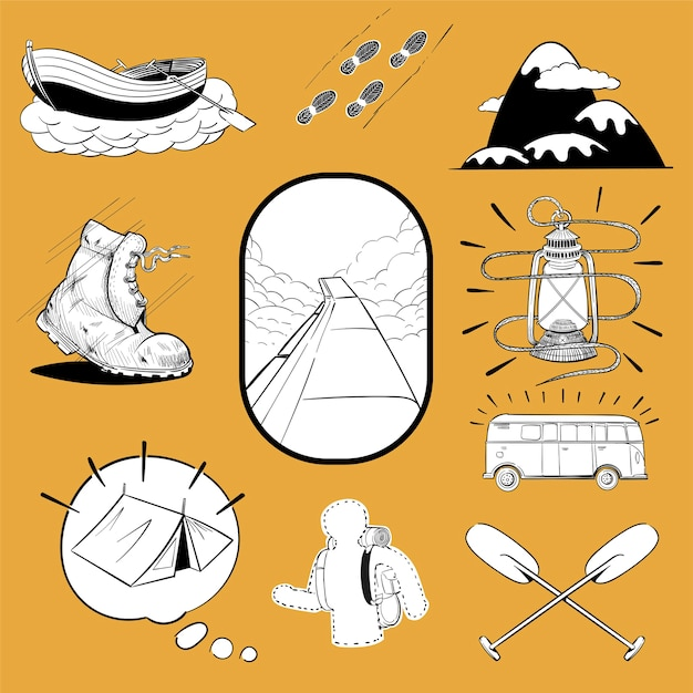 Hand drawing illustration set of wanderlust icons Free Vector