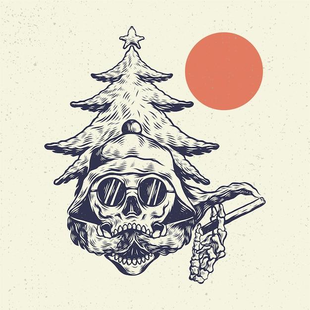 Рука рисунок иллюстрации скелет череп, концепция из головы черепа с курением облака стиль vape. Premium векторы
