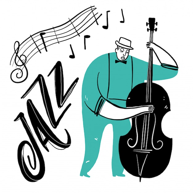 Hand drawing a man playing music Premium Vector