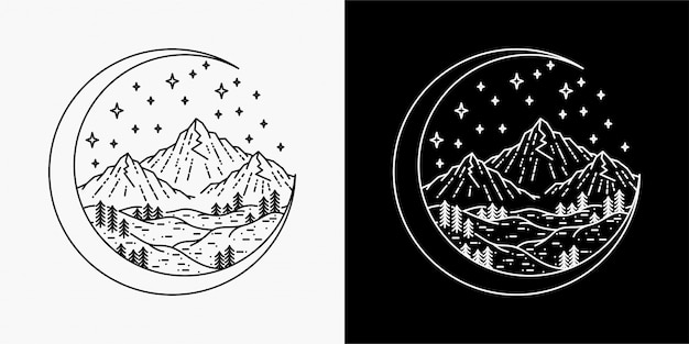 Moon and Mountains Drawing